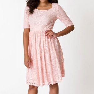 Light pink lace swing dress